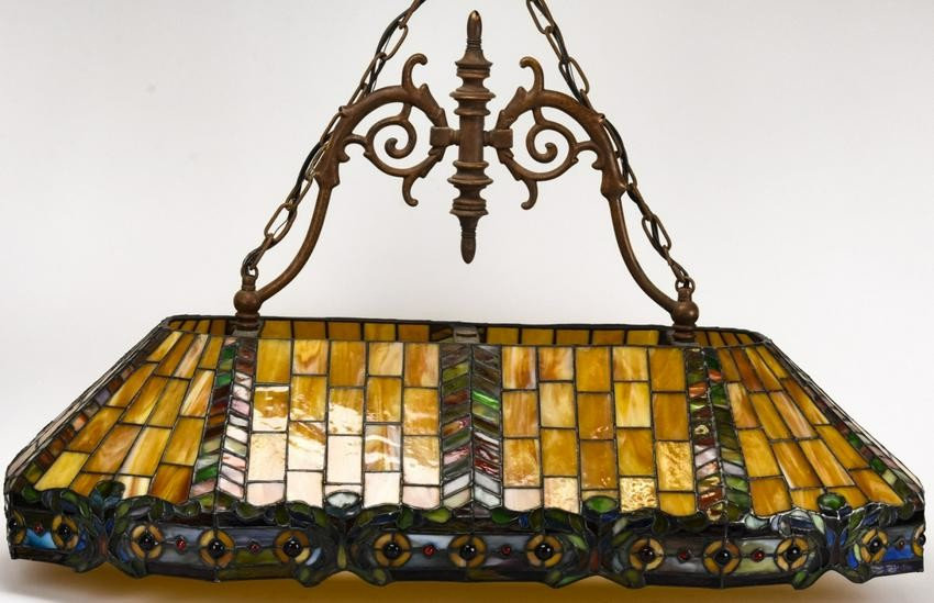 Lot Art Large Stained Slag Glass Pool Table Light