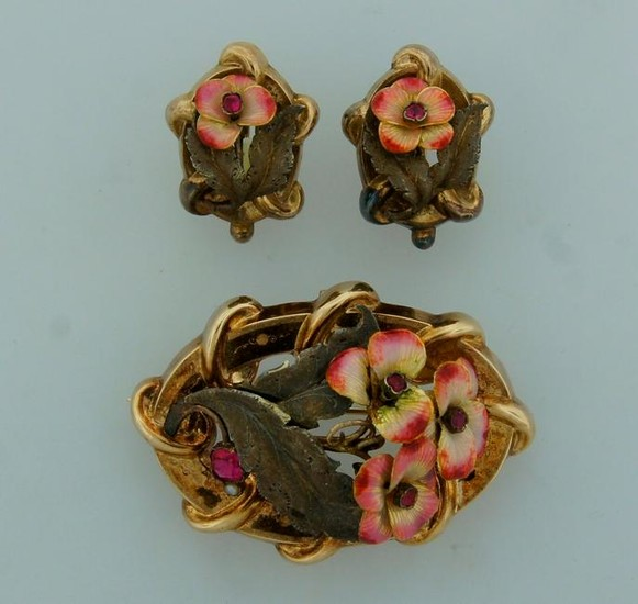 Victorian ENAMEL RED STONE YELLOW GOLD SET of EARRINGS