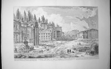 Piranesi, Giovanni: THE FORUM ROMANUM, WITH THE TEMPLE OF CASTOR AND POLLUX, Year 1756.