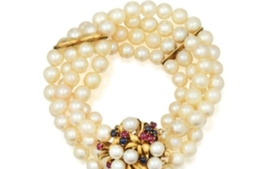A Multi-Colored Gemstone and Four-Strand Cultured Pearl Bracelet