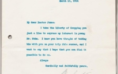 Wilson, Woodrow (1856-1924) Four Typed Letters Signed, 1914-1921.