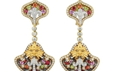Magerit - Magerit Fuente Big Versailles Peridot Diamond and Multi-Colored Sapphire Earrings