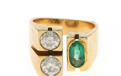 Ole Lynggaard: An emerald and diamond ring set with an oval-cut emerald and two brilliant-cut diamonds mounted in 18k gold. Size 50.