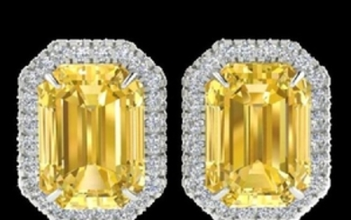 8.40 CTW Citrine & Micro Pave VS/SI Diamond Halo