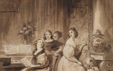 ACHILLE DEVÉRIA (Paris 1800 1857 Paris) Women at the Piano in a Parisian Salon.