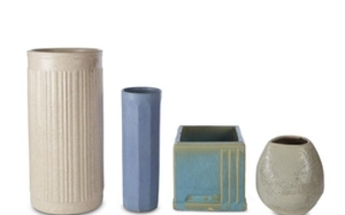 Four American art pottery pieces Including white-glazed umbrella stand,...