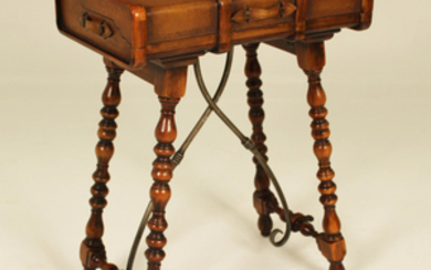 GENTS WOOD BANDED LEATHER SHIPS DESK; MAITLAND SMITH