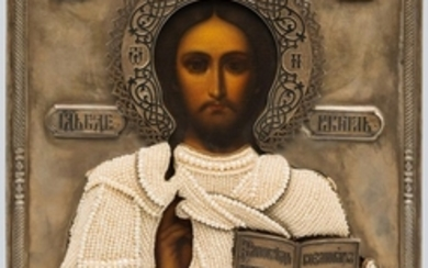 An Icon of Christ Pantocrator with Niello Silver and Basma Oklad.