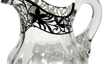 Sterling Silver Overlay Glass Pitcher