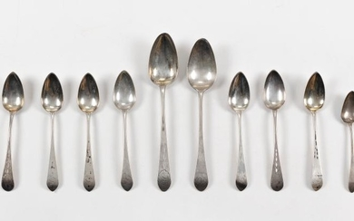 FOURTEEN AMERICAN COIN SILVER SPOONS FROM NEW YORK CITY 1-9) Nine John Vernon, c. 1786-1817: Five teaspoons and four oval soup spoon...