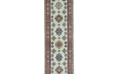 Super Kazak Runner Ivory Hand Knotted Pure Wool