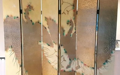 Screen - Peacock, gilded and lacquer