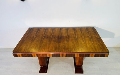 1920s French Art Deco dining table with chrome trim