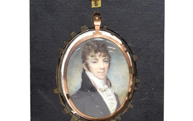 English School (early 19th century): A Miniature Bust Portrait of...
