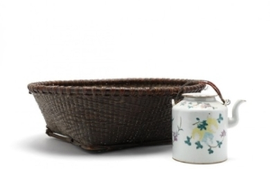 Antique Chinese Basket and Teapot