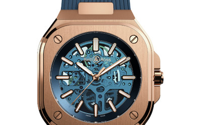 BELL & ROSS BR 05 SKELETON GOLD BLUE Bell & Ross, leading aviation brand, launches this year a new collection: BR 05.The Maison presents exclusively for Only Watch a unique piece: the br 05 skeleton gold blue: The ultimate watch for urban explorers.,