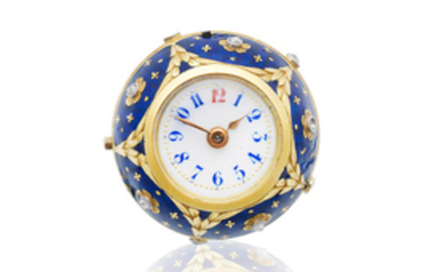 A continental gold, enamel and diamond set keyless wind ball-form watch