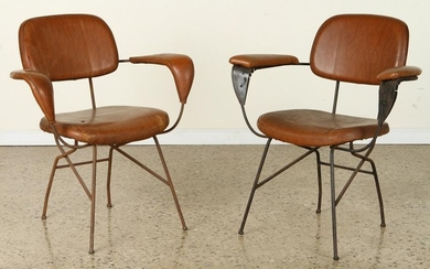 PAIR ITALIAN UPHOLSTERED ARM CHAIRS CIRCA 1950