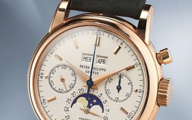 Patek Philippe, Ref. 2499 An extremely fine, highly important, and most probably unique pink gold perpetual calendar chronograph wristwatch with Italian calendar disc and moonphases
