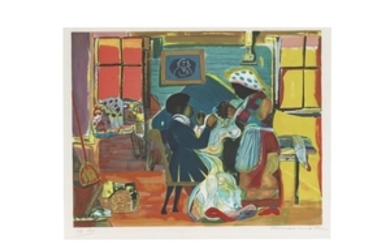 ROMARE BEARDEN (1911-1988), Quilting Time