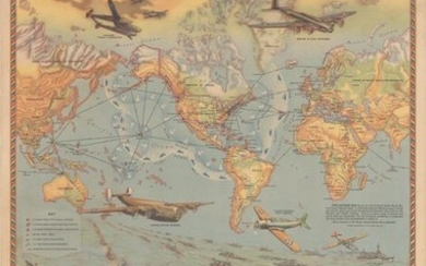 """Superb WWII Map Demonstrating the United States' Military Reach, """"Safeguarding Our American Liberty"""", Hammond, C. S."""
