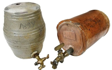 Two Stoneware Spirit Barrels with Spigots