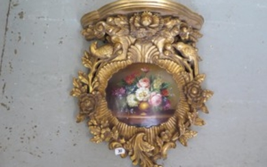 A Victorian style gilt bracket with painted cartouche - 51cm...