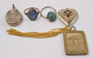 Mixed vintag lot to include, square yellow metal locket, whi...