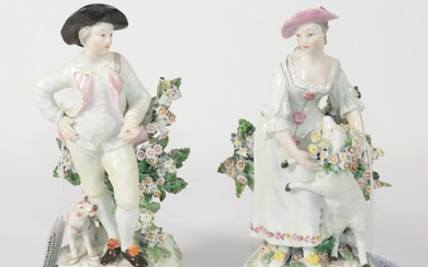 A Pair of Derby Porcelain Figures of a Shepherd and...
