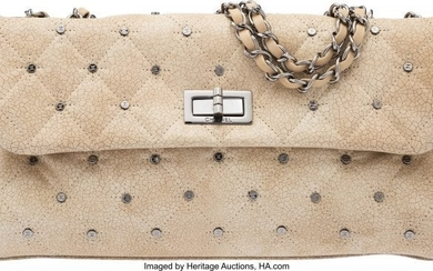 58035: Chanel Beige Quilted Patent Leather Reissue East