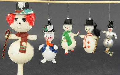 FOUR ITALIAN FROSTED GLASS SNOWMAN & SNOWMAN TREE