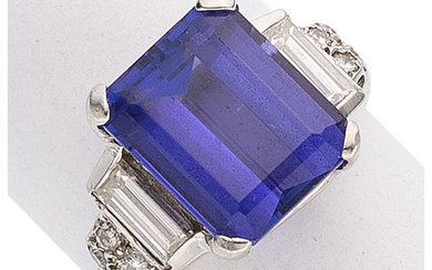 Tanzanite, Diamond, Platinum Ring The ring features an emerald-cut...