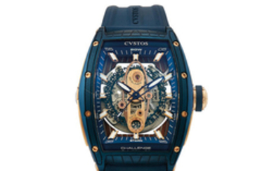 Cvstos, A Fine Blue PVD Coated Stainless Steel and Pink Gold Automatic Center Seconds Skeletonised Wristwatch with Date