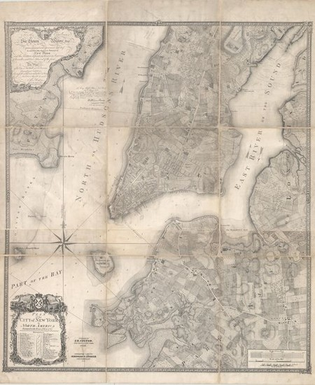 """Colton's Rare Edition of the """"Ratzer Map"""" of New York City, """"Plan of the City of New York in North America Surveyed in the Years 1766 & 1767"""", Colton, Joseph Hutchins"""