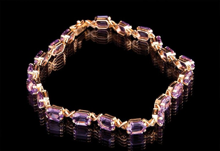 Gold and Amethyst Flexible Bracelet