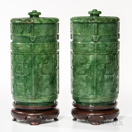 Pair of Spinach Green Covered Vessels
