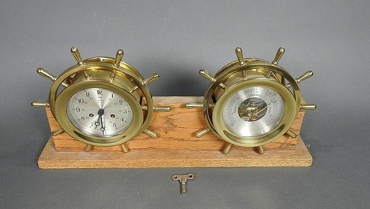SALEM SHIP CLOCK WITH MATCHING BAROMETER ON STAND