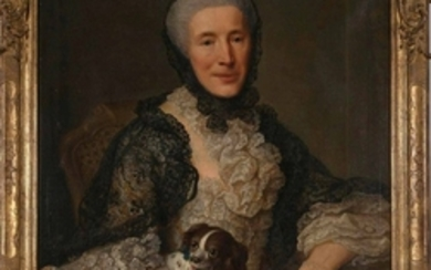 French School 18th/19th Century Portrait of a Lady with her Spaniel