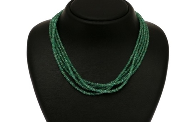 A five string emerald necklace set with numerous roundel-cut emeralds and magnet clasp of sterling silver. L. 47 cm.