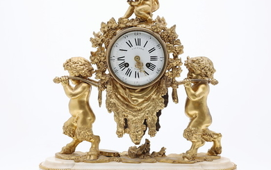 Louis XVI table clock in gilt bronze and marble, late 18th-first quarter of the 19th Century.