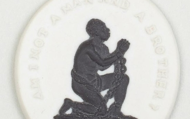 Wedgwood Black and White Jasperware Oval Slave