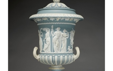 A WEDGWOOD BLUE AND WHITE JASPERWARE TWO-HANDLED 'BORGHESE' VASE LATE 18TH CENTURY