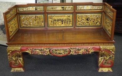 Chinese painted dragon bench with ornately carved gilt wood ...