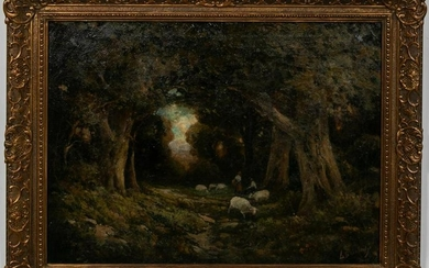 "American School, ""Shepherd Through The Forest"""