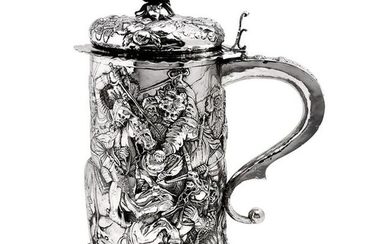 LARGE GERMAN ANTIQUE SILVER TANKARD / STEIN / FLAGON c.