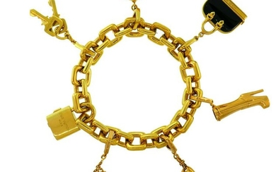 LOUIS VUITTON Onyx Yellow Gold Charm BRACELET French LV