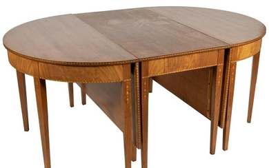 Bell-Flower Inlaid Mahogany Banquet Table
