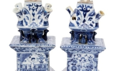 A pair of Chinese porcelain square tulip...