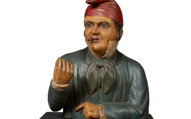 FINE AND RARE CARVED AND POLYCHROME PAINT-DECORATED PINE COMICAL TOBACCONIST BUST TRADE FIGURE, ATTRIBUTED TO THE SAMUEL ROBB WORKSHOP, NEW YORK, CIRCA 1880