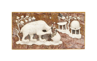 A North Italian Breccia and Carrara carved marble relief tablet of a bear eating honey